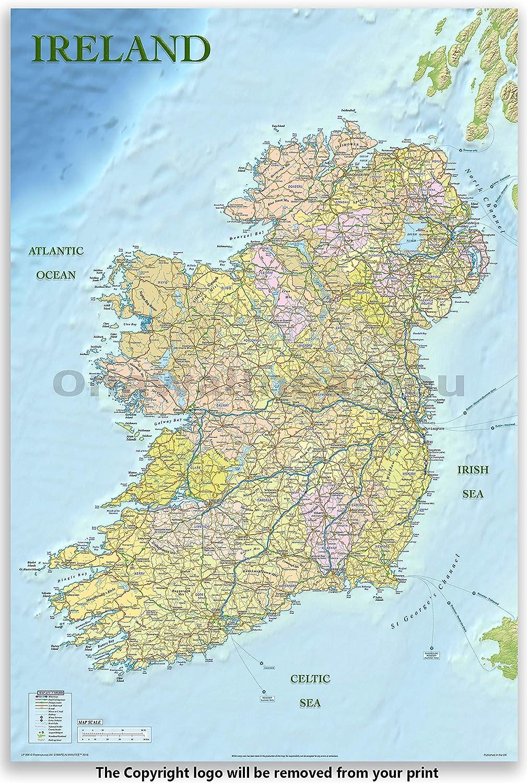 Mapa político de Irlanda Laminado/póster engastado, Medidas 91,5 x 61 cm: Amazon.es: Hogar