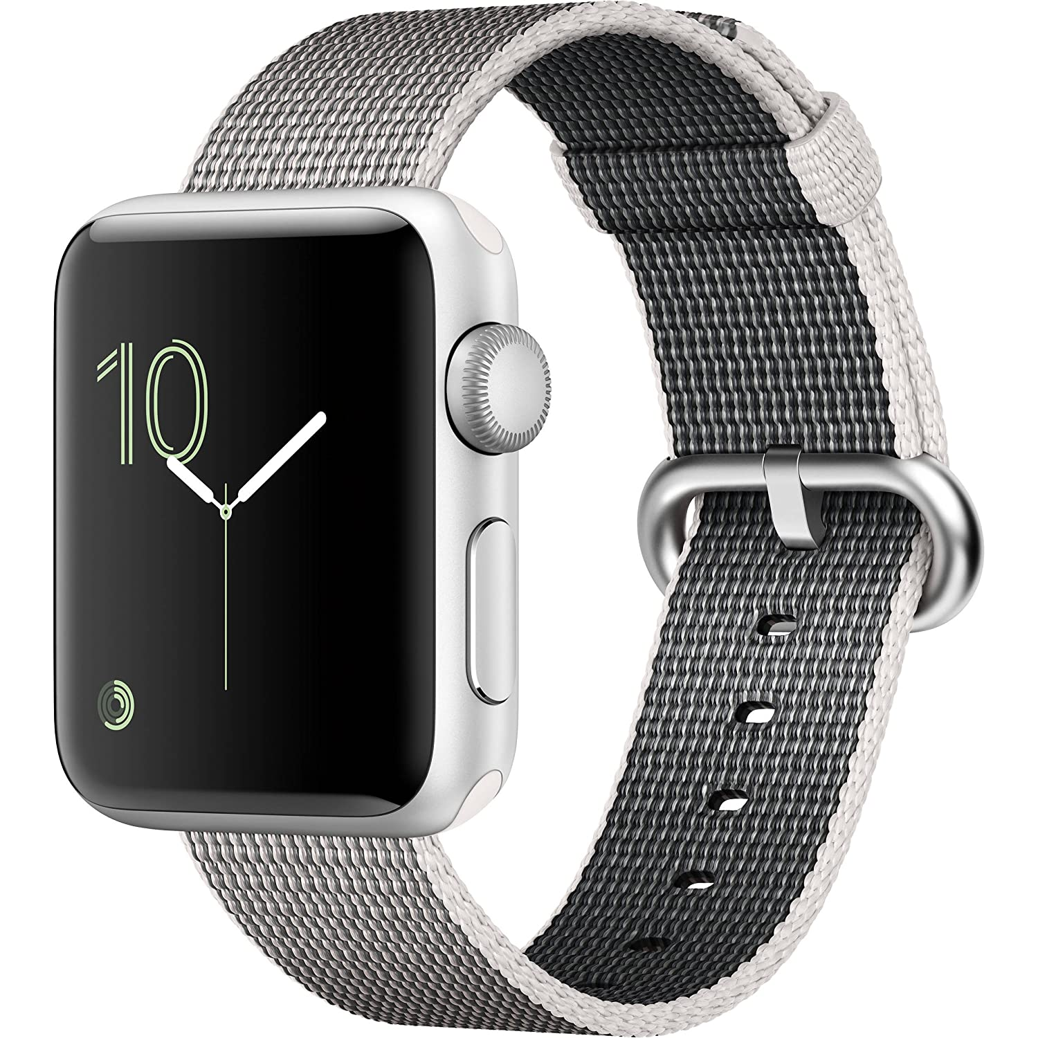 Apple Watch Series 2 Smartwatch 38mm Silver Aluminum Case Pearl Woven Nylon Band (Refurbished)