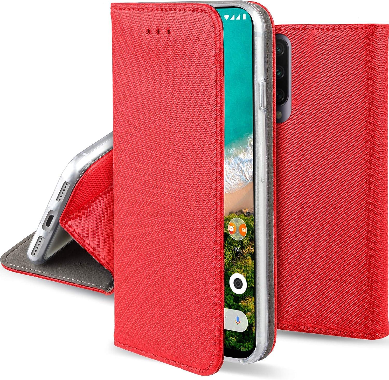 Moozy Funda para Xiaomi Mi A3, Rojo - Flip Cover Smart Magnética con Stand Plegable y Soporte de Silicona