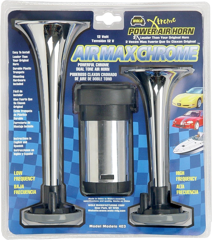 Air Max Black Plastic Trumpet Horns High and Low Tone 12 Volt Wolo 402