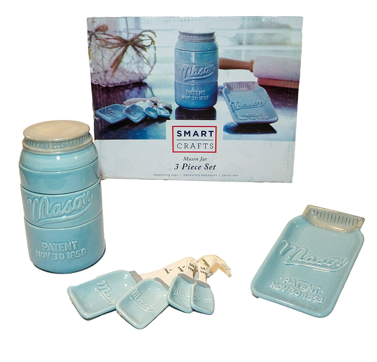 NEW! Blue Mason Jar Ceramic Kitchenware 3 Piece Set! This Set Includes Stackable Measuring Cups, Measuring Spoons and Spoon Rest! Smart Crafts