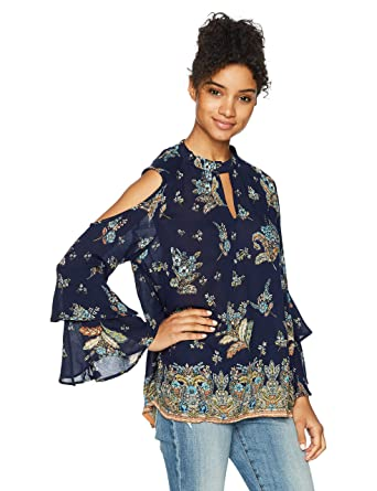 4bf12595f2ab04 Amazon.com: Angie Women's Navy Printed Keyhole Cold Shoulder Top: Clothing