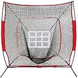 ZENY 7'×7' Baseball Softball Practice Net w/Strike Zone Hitting Batting Catching Pitching Training Net w/Carry Bag & Metal Bow Frame, Backstop Screen Equipment Training Aids