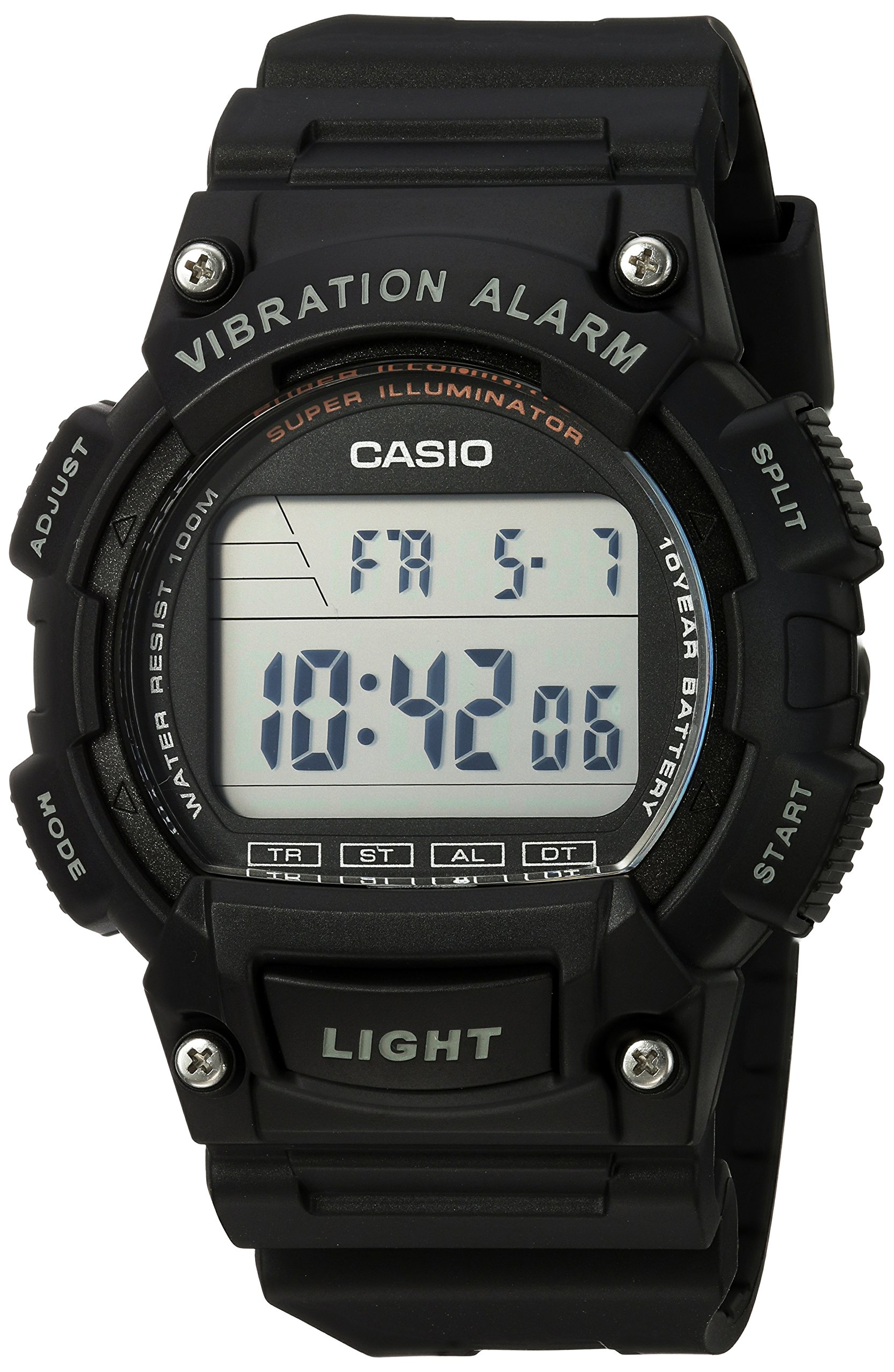 Casio Men's 'Super Illuminator' Quartz Resin Casual Watch, Color:Black (Model: W-736H-1AVCF) by Casio