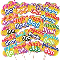 WOBBOX All Occasion Indian Family Photo Booth Party Props, Baby Shower Party Props for Family / Birthday Party Props for Family / Wedding Party Props for Family (18 Pcs)