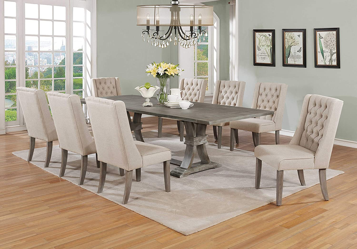 Amazon Com Best Quality Furniture 9pc Dining Set 1 Table 8 Chairs Beige Table Chair Sets