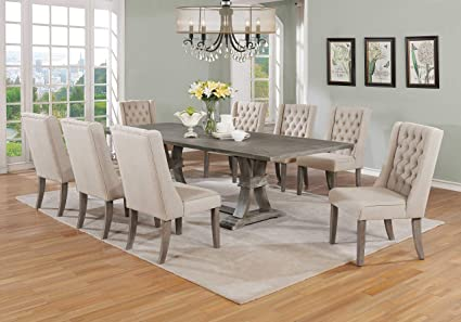 Best Quality Furniture D25D9 9PC Dining Set 1 Table 8 Chairs Beige
