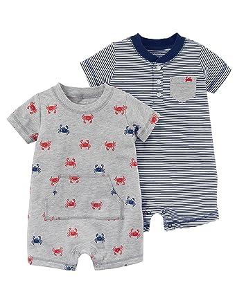 a1f6d299a1c4 Amazon.com  Carter s Baby Boy s 2 Pack Cotton Romper Creeper Set ...
