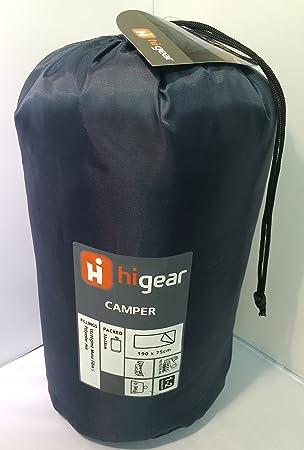 Hi Gear único azul oscuro - Saco de fibras de poliéster ligero - Mono Mix - 190 x 75 cm cremallera a la izquierda: Amazon.es: Jardín