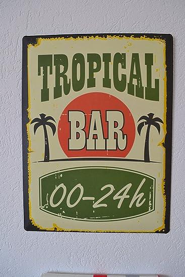 Wandbild - modernes Bild Höhe 40 cm - Metallbild Tropical BAR- für ...
