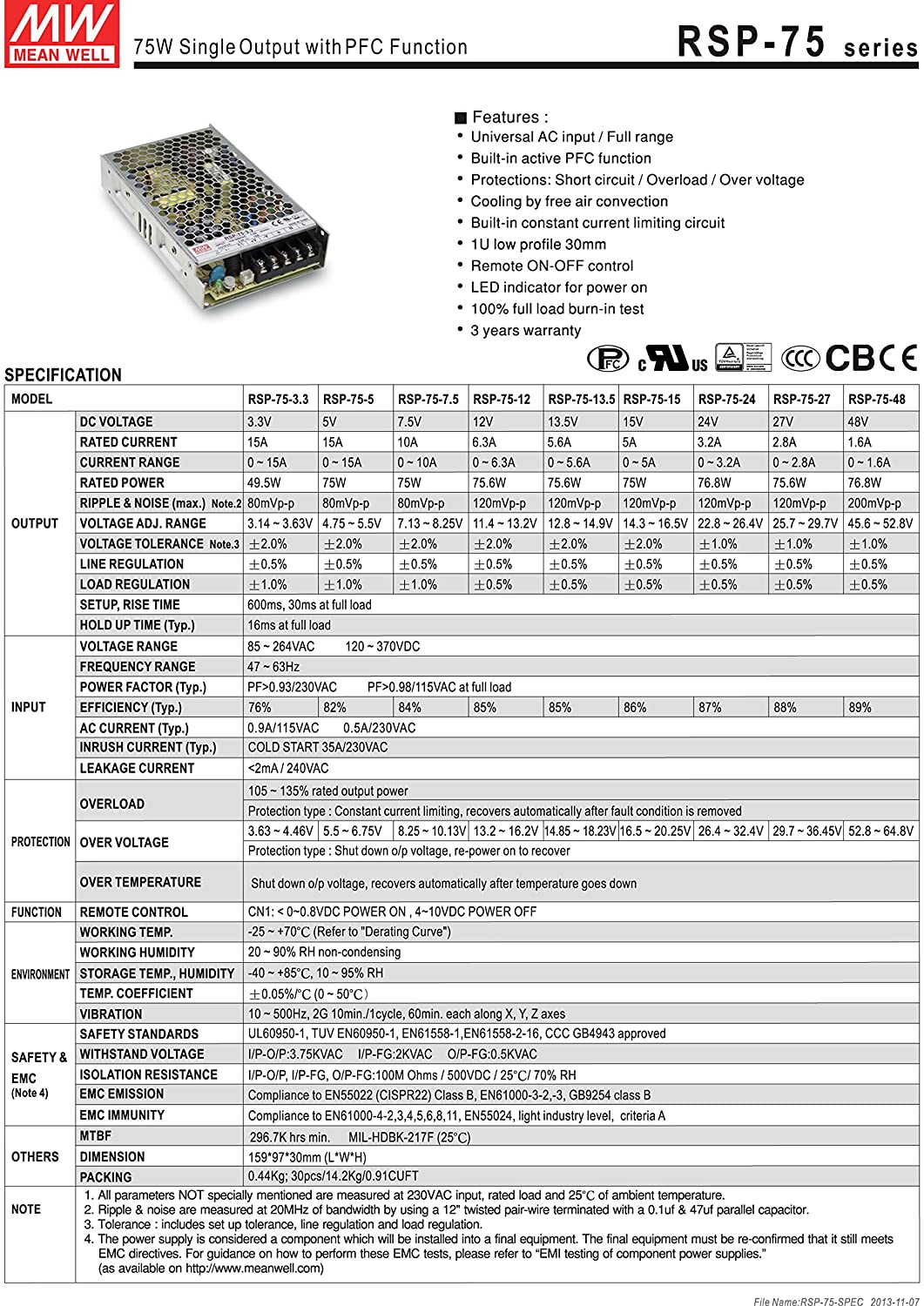 AC to DC Switching Power Supply Single Output with PFC Function 5 Volts 15 Amps 75 Watts