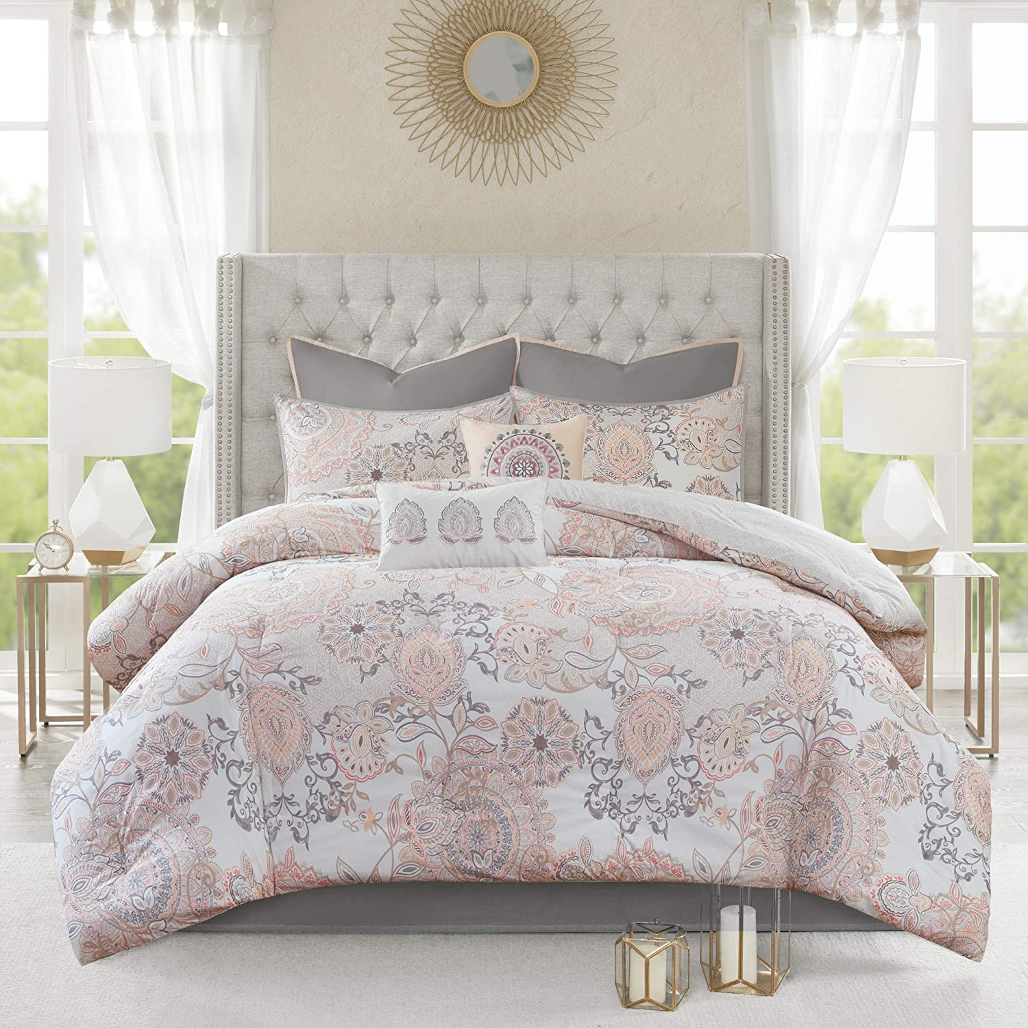 "Madison Park Reversible 100% Cotton Comforter Season Set, Matching Bed Skirt, Decorative Pillows, Queen(90""x90""), Isla, Floral Medallion Blush"