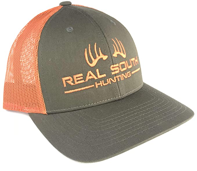 b3e894f39a1 Real South Hunting Richardson 115 Low Profile Twill Mesh Snapback (Loden  and Jaffa Orange with