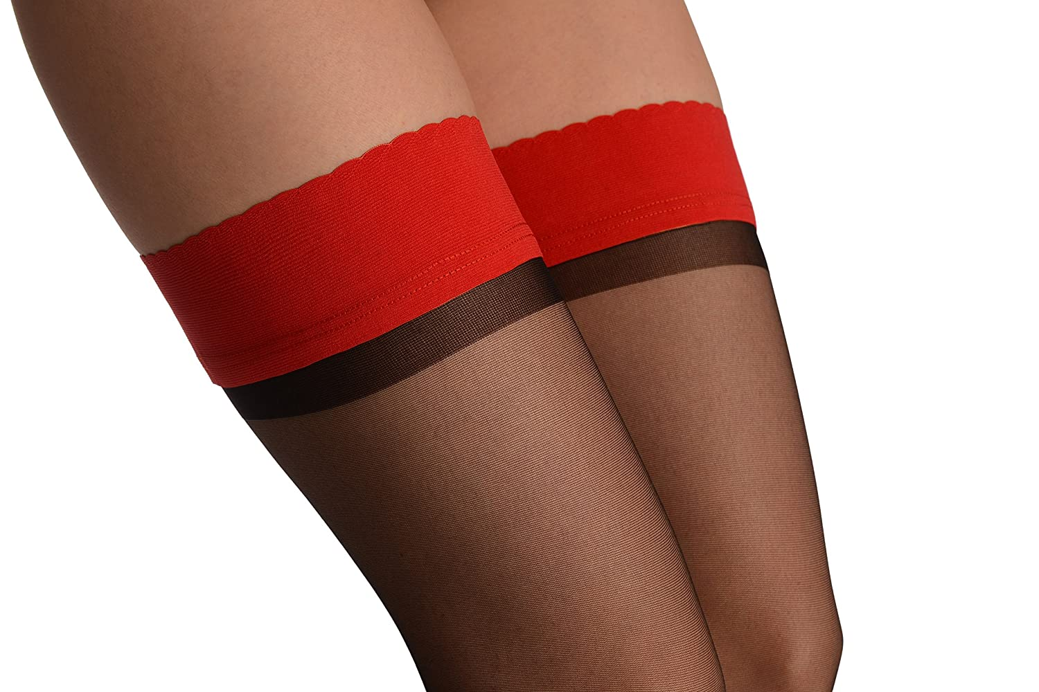 Black With Red Rounded Petals Top Silicon Garter - Red Designer Hold Ups