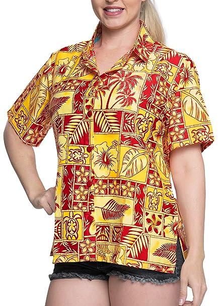 Blusas Camisa Hawaiana Tirantes Las Mujeres con Cuello Mangas Cortas Campamento de la Playa roja: Amazon.es: Ropa y accesorios