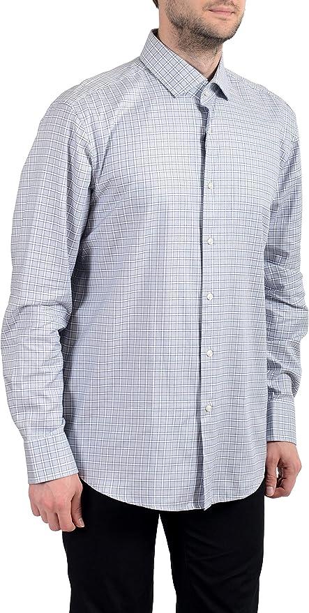 Hugo Boss Men/'s /'Gordon/' Light Blue Regular Fit Checked Cotton Dress Shirt 15