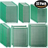 PCB Board, 32 Pcs PCB Prototype Board Double Sided for DIY - 6 Sizes by VERONES