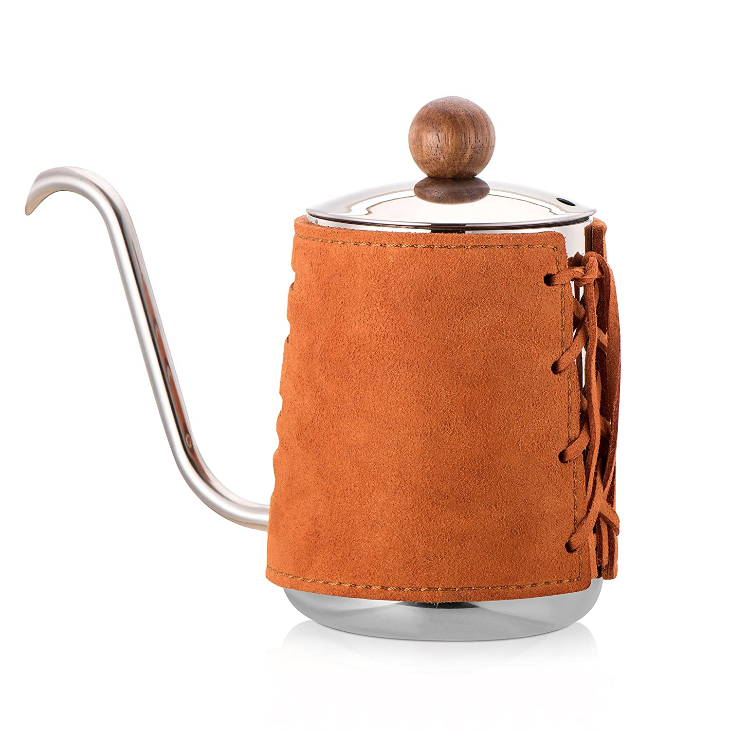 Diguo Pour Over Coffee Kettle Premium Quality Stainless Steel Hand Drip Kettle with Authentic Leather Wrapped, Gooseneck, (Black, 300ml)