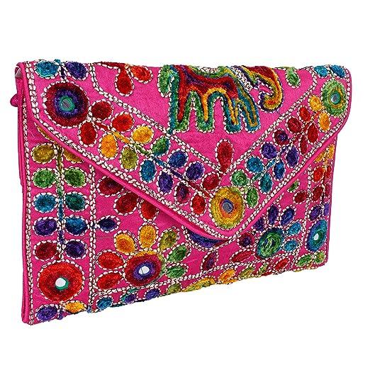 5844f1c9b3 Pink Women Banjara Clutch Bag In Rajasthani Style Magenatic Closure  Foldover Clutch Purse -Quality Checked