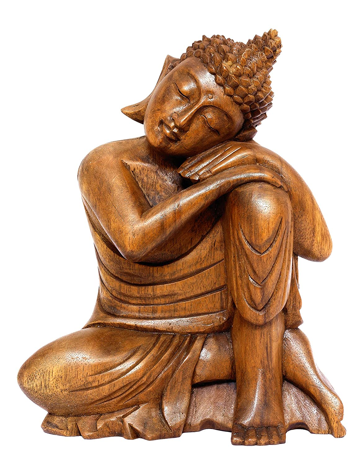 "G6 Collection 11"" Wooden Serene Resting Sleeping Buddha Statue Hand Carved Sitting Buddha Sculpture Handmade Figurine Decorative Home Decor Accent Handcrafted Traditional Modern Decoration (Medium)"