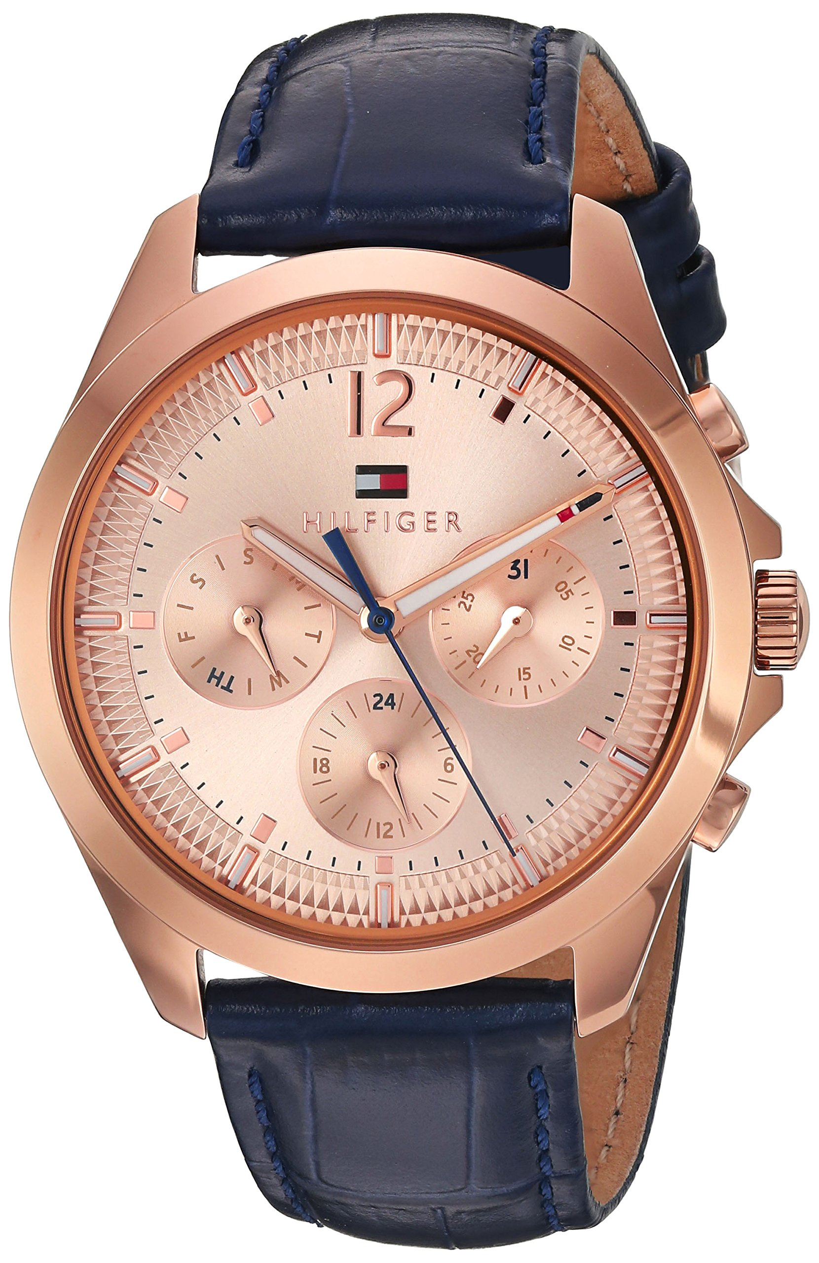 Tommy Hilfiger Women's Quartz Gold and Leather Watch, Color:Blue (Model: 1781703)