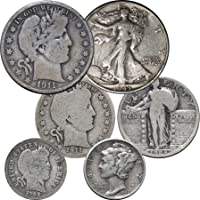 1900 Various Mint Marks - 1945 Barber, Mercury, Standing & Walking Liberty, 6 Coins Circulated