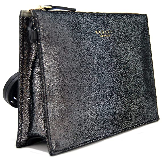 de508dad76d50 RADLEY Leather 'Bond Street' Small Zip-Top Cross Body Clutch Bag in Black &  Silver: Amazon.co.uk: Clothing