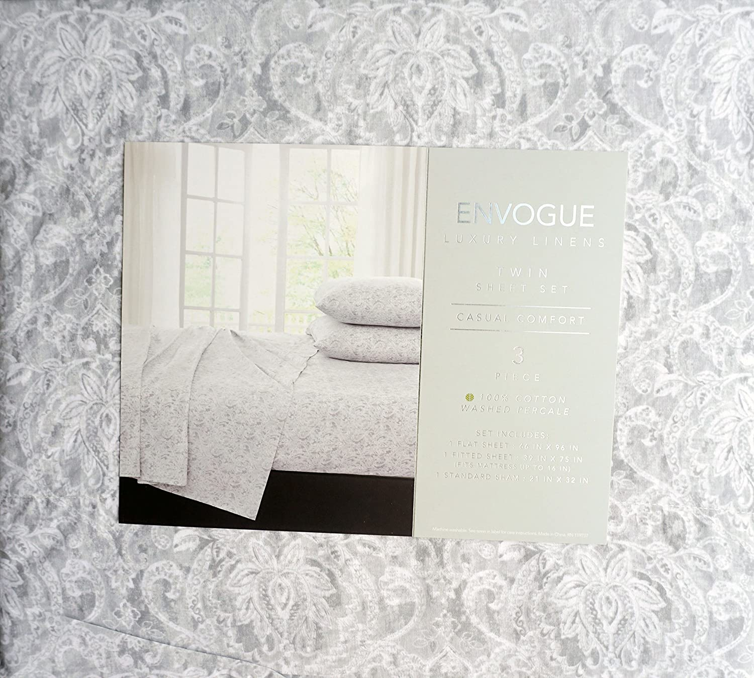 Envogue French Floral Damask Medallions Pattern 3 Piece Twin Size Sheet Set Cotton Percale Gray White Lotus