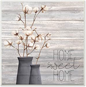 Stupell Industries Grey Sweet Home Cotton Flowers in Vase Wall Plaque, 12 x 12, Multi-Color