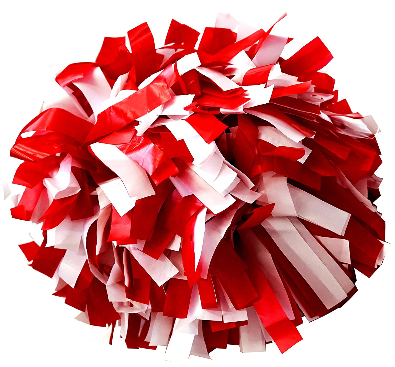 Rojo//Blanco Animadoras Pompones de pl/ástico color con batuta mango Par