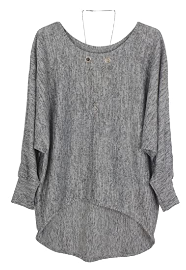 Emma & Giovanni Pullover Sweatshirt Oversize Damen (XLXXL, Grau)