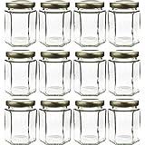 6oz Large Hexagon Glass Jars (12 Pack), 6oz Hex Jars Bulk Value Pack of 12