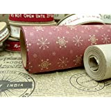 East of India Kraft Paper Christmas Wrap-3m (Kraft  - Snowflakes Paper Roll)