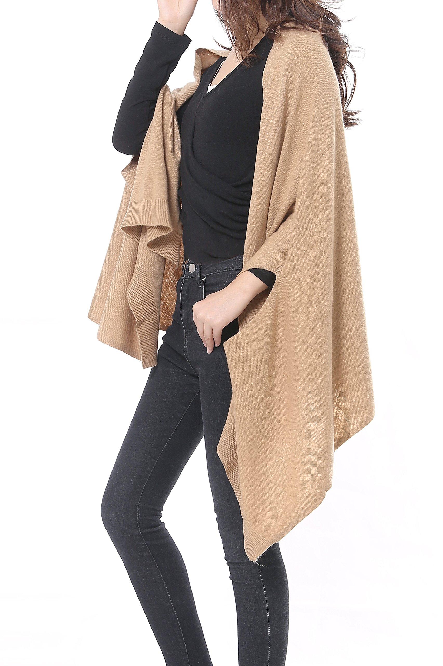 Bruceriver Women's Wool Blended Versatile Multi Style Long Knit Scarf Size M/L (Camel)