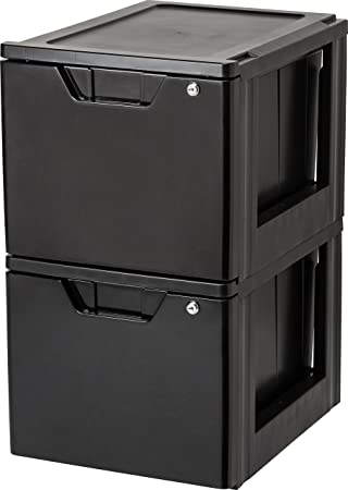 Exceptional IRIS Stacking File Storage Drawer With Lock, 2 Pack, Lock And Key