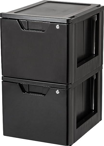IRIS Stacking File Storage Drawer with Lock, 2 Pack, Lock and Key