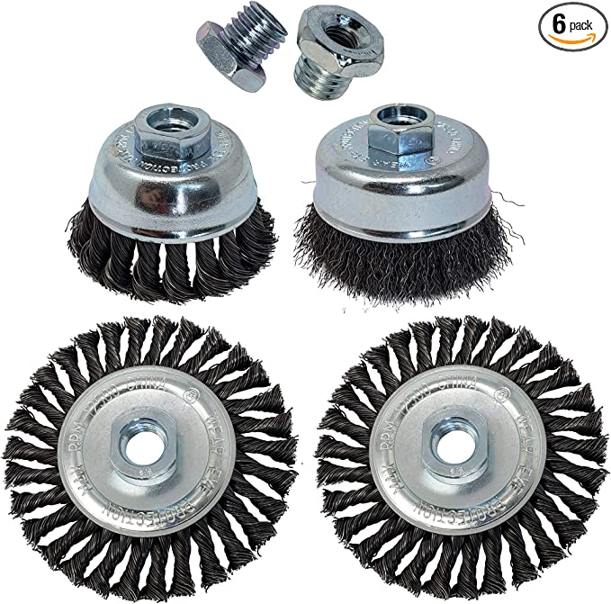 """16pcs 3/"""" THREADED CRIMP CUP WIRE WHEEL BRUSH 5//8/'/' FOR ANGLE GRINDER"""
