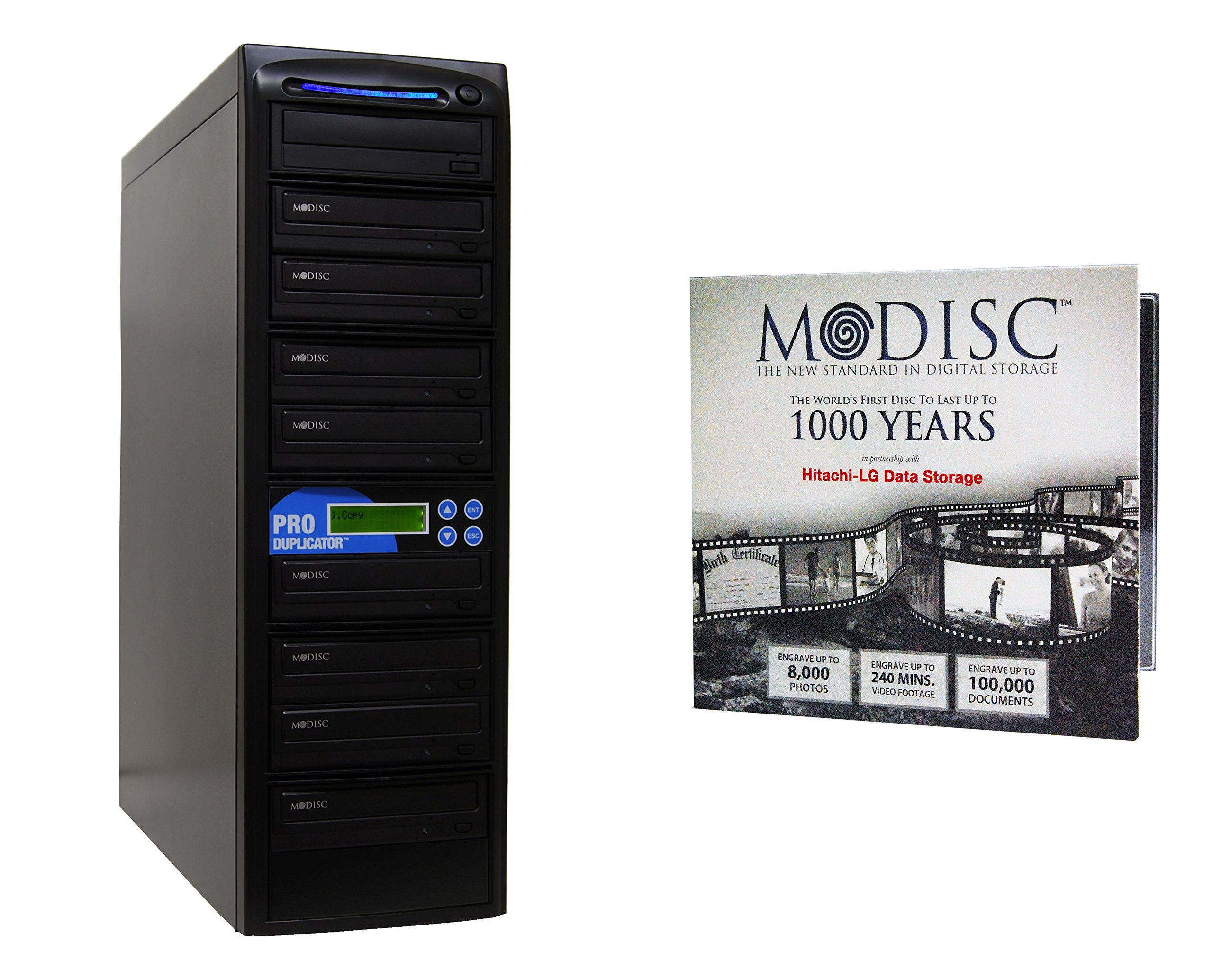 Produplicator 1 to 8 24X M-Disc Support CD DVD Duplicator Bundle with 1 Pack M-DISC, Nero Essentials Burning Software (Standalone Duplication Tower)