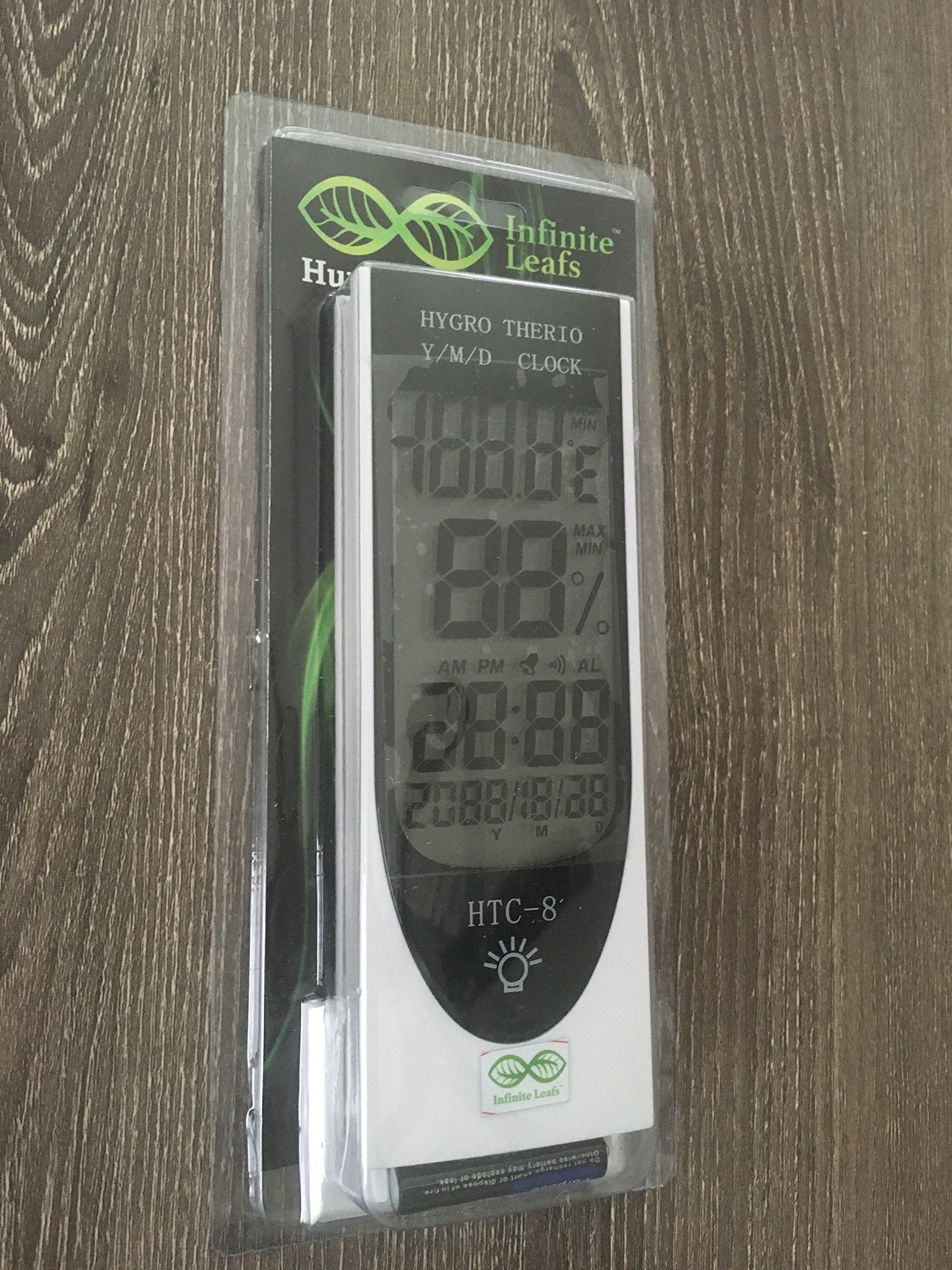Digital Blue LED light Sensor, Hygrometer, Temperature, Humidity Meter, Clock, Calendar, Alarm, Hydroponics.