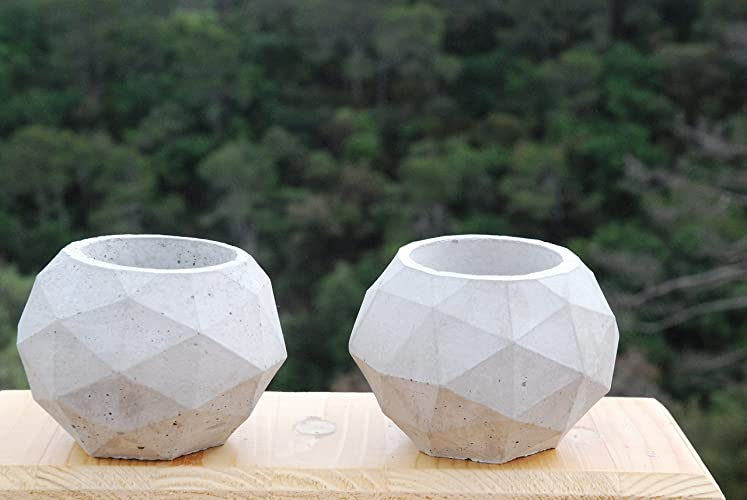 2 Pack de Porta maceta de concreto/Geometry Concret Planter Pot NO INCLUYE PLANTA: Amazon.es: Handmade