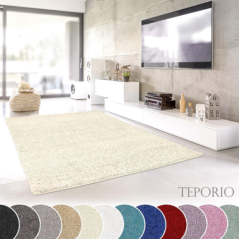 Teporio Shaggy-Teppich   Flauschiger Hochflor fürs Wohnzimmer, Schlafzimmer oder Kinderzimmer   einfarbig, schadstoffgeprüft, allergikergeeignet (Creme - 250 x 250 cm)