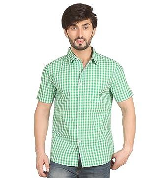 d63257fe24de Starsy Light Green Color Checkered Cotton Casual Half Sleeves Casual Shirt  for Men