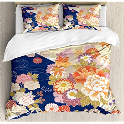Ambesonne Japanese Duvet Cover Set, Traditional Kimono Motifs Composition Floral Patterns Vintage Artwork, Decorative 3 Piece Bedding Set with 2 Pillow Shams, King Size, Cream Indigo: Home & Kitchen