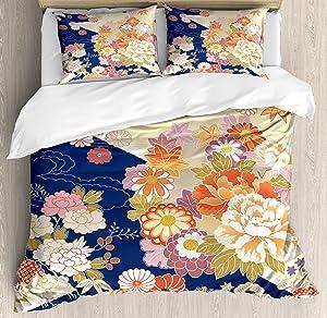 Ambesonne Japanese Duvet Cover Set, Traditional Kimono Motifs Composition Floral Patterns Vintage Artwork, Decorative 3 Piece Bedding Set with 2 Pillow Shams, Queen Size, Cream Indigo