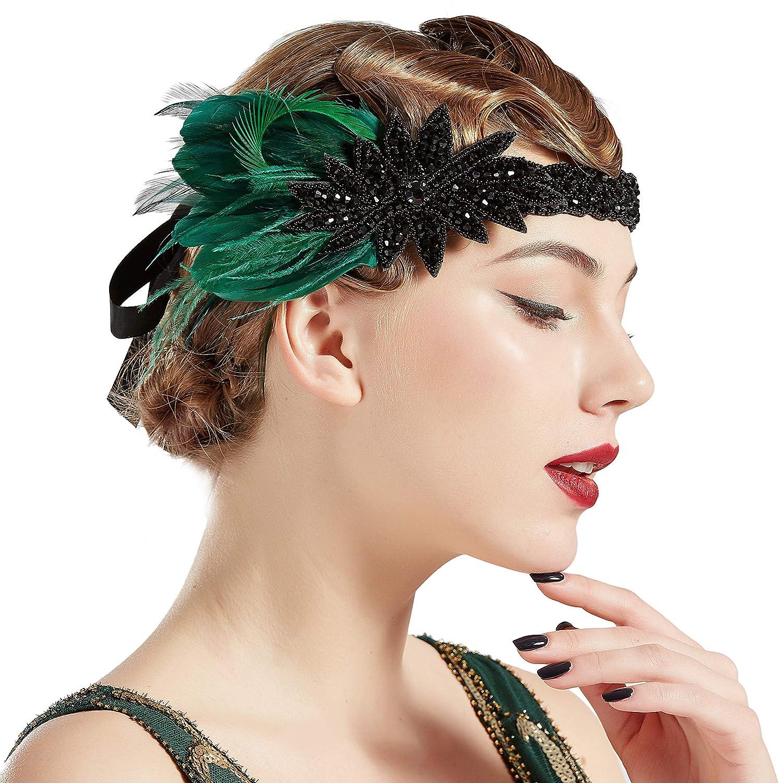 Federn Stirnband 1920s Jahre Flapper Paillette Charleston Kostüm Band Funa flYfE