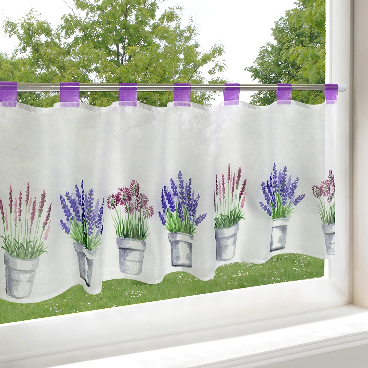 'Modern and Decorative Net Curtain Cafe net curtain with loops Lavender Delicate Digital Print Voile with Trendy Photo Print With Translucent and Opaque (H x B 45 x 120, Restaurant Kitchen Cafe Curtain Panel – Panne Aux – A Gem in Every Kitchen – from the