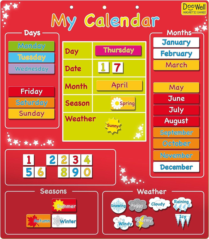 Doowell - Calendario magnético (en inglés), Color Rojo: Doowell ...