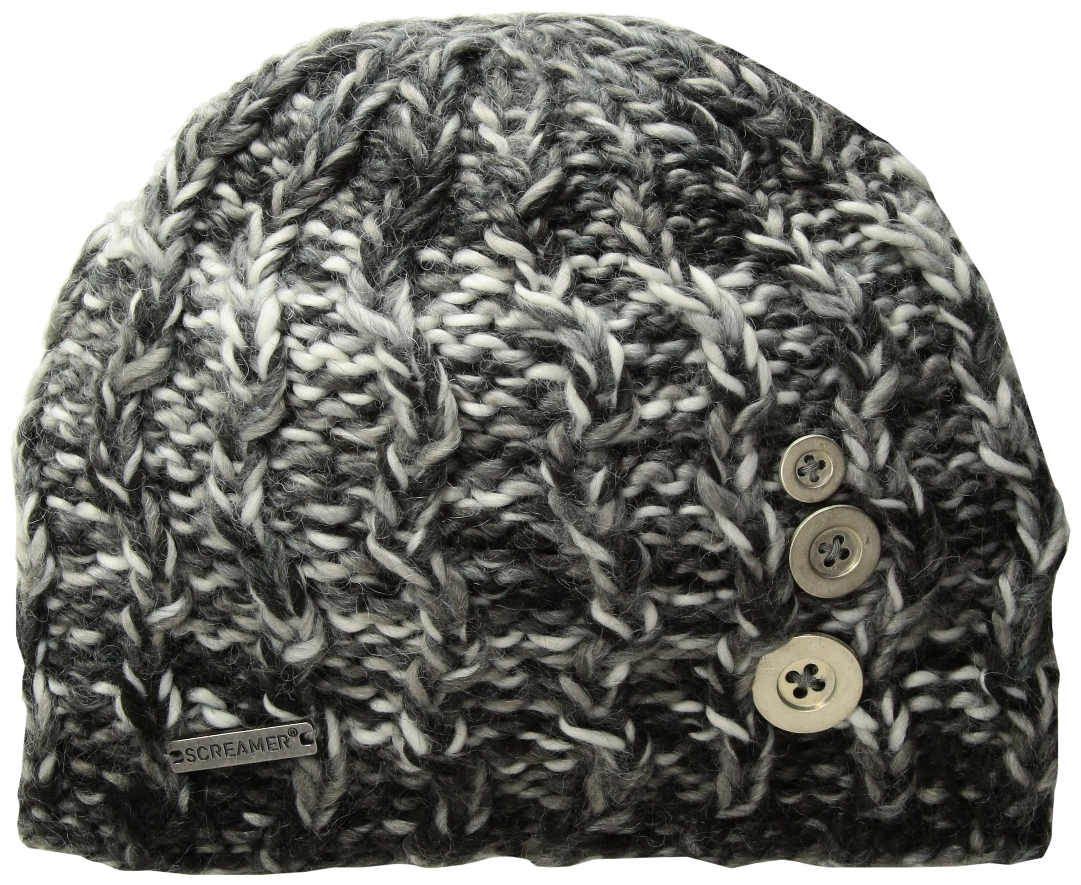 Screamer Tapestry Buttons Beanie, Black/Charcoal/Pearl, One Size