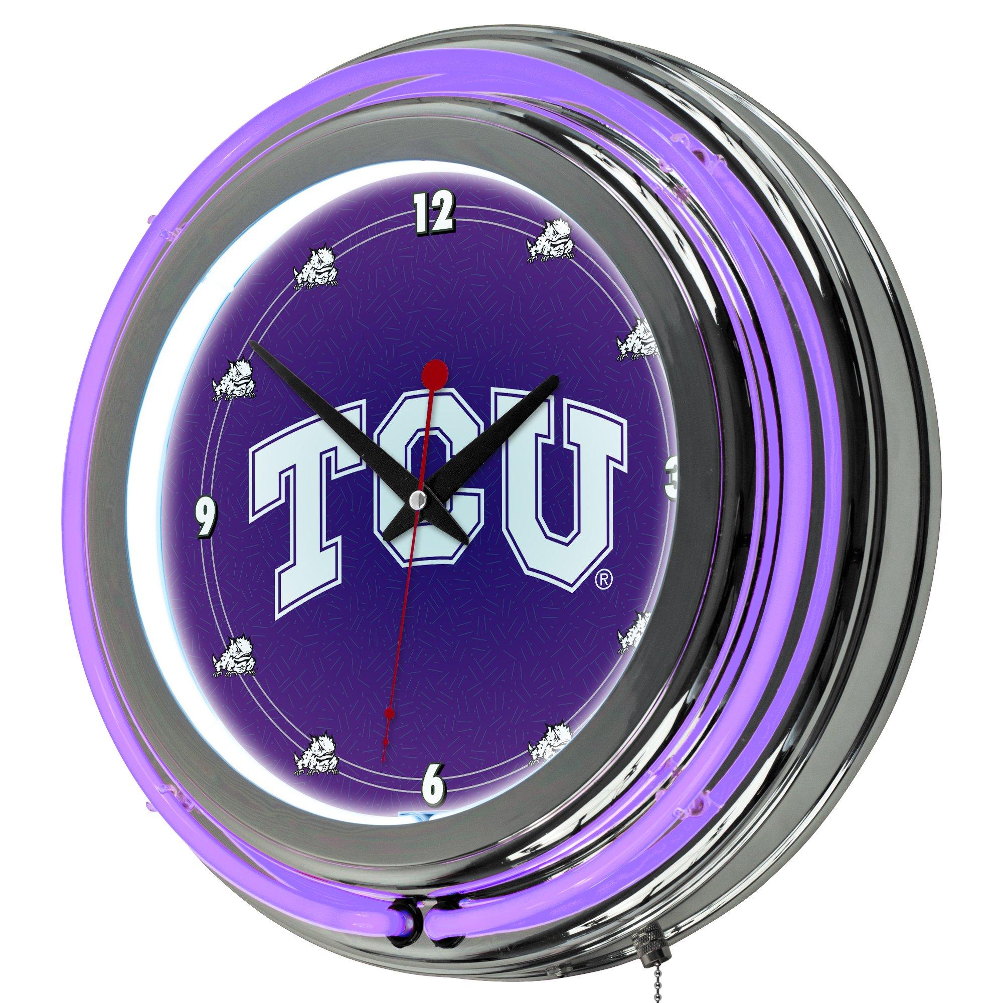 NCAA Texas Christian University Chrome Double Ring Neon Clock, 14'' by Trademark Gameroom