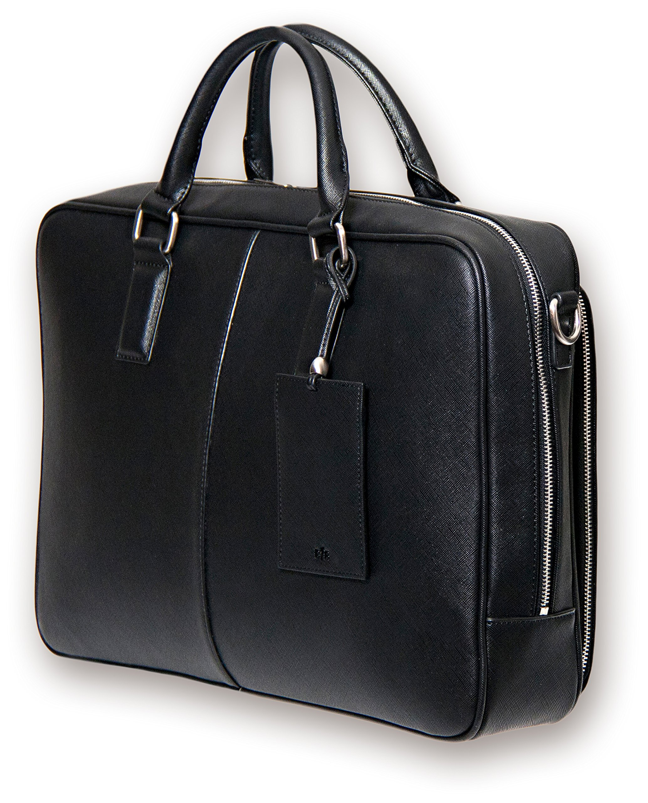 BfB Laptop Messenger Bag - Designer Business Computer Bag or Briefcase - Ideal for Work and Travel - Black